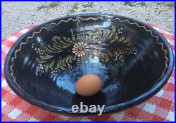 Vintage French 12x6 Black pottery tian bowl Alsace Savoy Floral Art Slipware