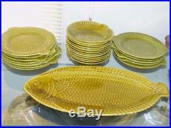 Vintage French Majolica Sarreguermines Fish Set 25 Pcs 12 Plates 12 Bowls Plat