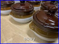 Vintage French Onion Soup Ceramic Crock Chili Bowls with Lids Set of 9 Pottery