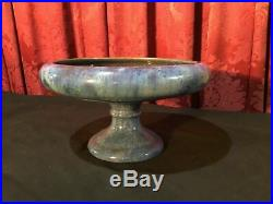 Vintage Fulper Art Pottery Chinese Blue Flambe Crystalline Footed Bowl Compote
