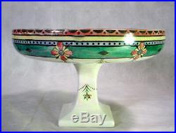 Vintage GRIMWADES Lustre BYZANTA WARE Pedestal Bowl ART Pottery COMPOTE England