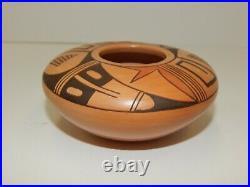 Vintage Garnet Pavatea Native American Hopi Pottery Bowl Vase Signed 2x4.5