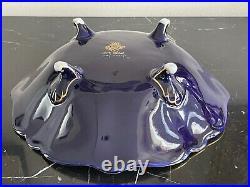 Vintage German JLMenau Graf Von Henneberg Cobalt Blue Porcelain Footed Bowl