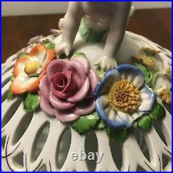 Vintage German Von Schierholz Dresden Porcelain Floral Cherub Bowl with Lid