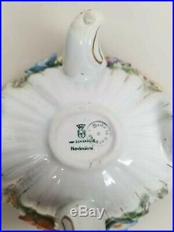 Vintage German Von Schierholz Dresden Porcelain Floral Cherubs Bowl with Lid