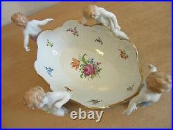 Vintage German centerpiece porcelain bowl Von Schierholz Handmalerei CHERUBS