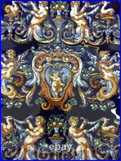 Vintage Gien Faience Renaissance Fond Bleu France Square Centerpiece Bowl