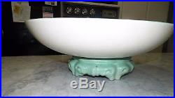 Vintage Gladding Mcbean Large Turquoise Centerpiece Bowl With Stand #21 Base