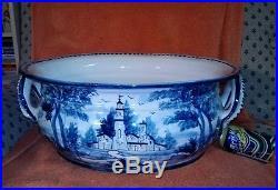 Vintage Global Views Large Bowl Blue Basket Made Italy art pottery Ceramic