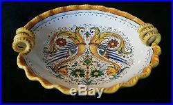 Vintage Grazia Deruta Italy 8 Majolica Raffaellesco Pottery Serving Bowl RARE