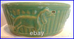 Vintage Green Robinson Ransbottom Pottery (R. R. P. CO.) Roseville Dog Bowl/Dish