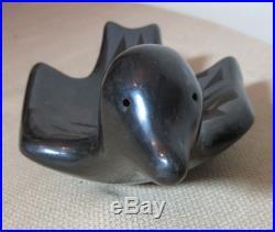 Vintage Handmade Native Santa Clara Black Pueblo Pottery Bird Duck Bowl Dish