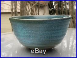 Vintage Harding Black Green/Blue Ribbed Bowl Texas Art Pottery