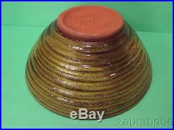 Vintage Harding Black Green/Brown Ribbed Bowl Large