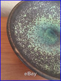 Vintage Harding Black Pottery 1955 Compote footed bowl LOVELY SPOTTY GREEN GLAZE
