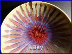 Vintage Harding Black Studio Pottery Starburst Bowl 1974 Oxblood Red Blue Green