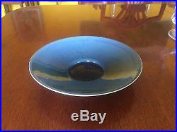 Vintage Harrison McIntosh Blue-Glazed Ceramic Bowl 1940's 9 Diameter