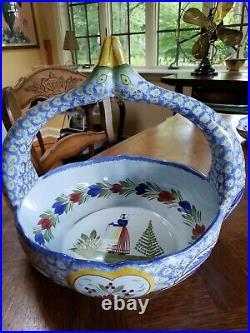 Vintage Henriot Quimper Double Swan Basket Bowl Decor Mistral Bretonne