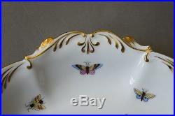Vintage Herend Rothschild Bird Large Shallow Elegant Serving Bowl #7514 MINT