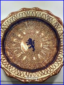 Vintage Hispano Moresque Large hand painted Spanish Majolica copper luster bowl