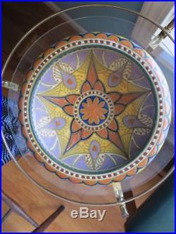 Vintage Holland Gouda Art Deco Nouveau Dish Bowl Vase Multi-colored 10.5
