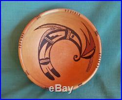 Vintage Hopi Indian Pottery Bowl Signed Laura Tomosie Sikyatki Design Old Hopi