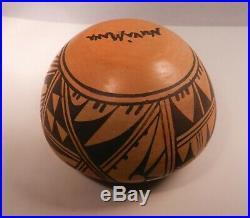 Vintage Hopi Nuva Mana Pottery Bowl, Signed, Colorful, Designed, Arizona Estate