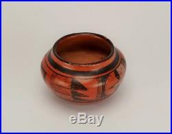 Vintage Hopi Tewa Indian Redware Pottery Black on Red Bowl or Pot