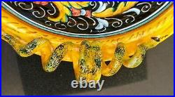 Vintage Huge DERUTA Italian pottery Bowl with Serpant Snake Coiled Handles