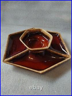 Vintage Hull Brown Drip Chip Dip Set 6 sided Platter And Bowl