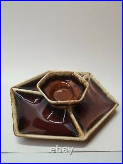 Vintage Hull Brown Drip Pottery Chip Dip Set 6 Sided Platter And Bowl