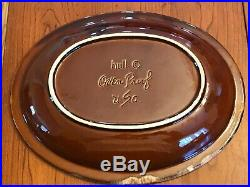 Vintage Hull Brown Drip Pottery Rooster Oven Proof Large Serving Bowl 13.5