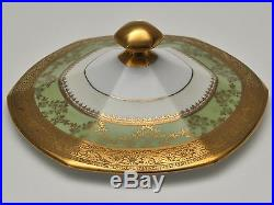 Vintage Hutschenreuther Selb Serving Bowl with Lid Hand Decorated 24 Karat Gold