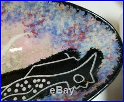 Vintage Immanuel Trujillo MANA Pottery Road Runner Large Narrow Bowl Tray APACHE