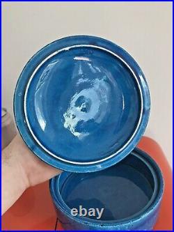 Vintage Italian Aldo Londi Bitossi Rimini Blue Lidded Bowl Rosenthal Netter Rare