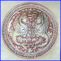 Vintage Italian Cottura Ceramiche Pedestal Bowl Hand Painted Magnanelli Gubbio
