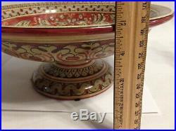 Vintage Italian Cottura Pedestal Bowl Hand Painted Magnanelli Gubbio 12 Inch