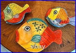 Vintage Italian Vietri Desuir Ceramic Fish Platter Bowl & Plates Hand-Painted