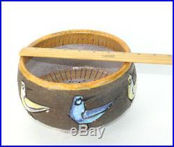 Vintage Italy Mid Century Art Pottery Bowl Sgraffito Birds Stoneware Lava Glaze