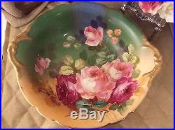 Vintage JP LIMOGES FRANCE 10 Porcelain Bowl With Hand Painted Roses Signed