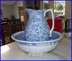 Vintage J F Wileman Foley Potteries Blue & White Chintz Wash Bowl & Pitcher