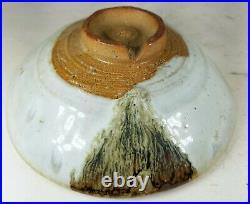 Vintage Japanese Art Pottery Bowl Glazed Signed Artist Seal