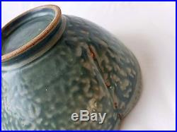 Vintage Japanese Studio Pottery Lotus Flower Bowl in Turquoise