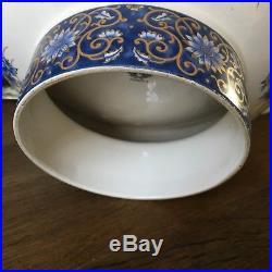 Vintage Japanese panda pottery mark Peacock decorated Bowl