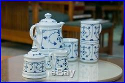 Vintage KAHLA Blau Saks Teapot withWarmer Creamer & Sugar Bowl 3 Mugs Comodo Blue