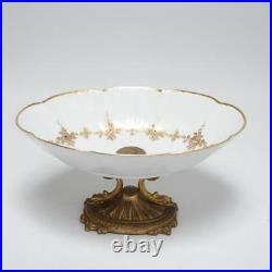 Vintage Kaiser German Porcelain Centerpiece Bowl On Venetian Style Brass Base