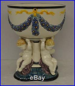 Vintage Karlsruhe German Art Nouveau Pottery Bowl with Cherubs Jugendstil 1156