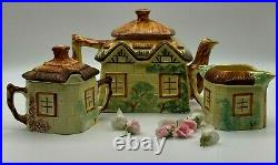 Vintage Keele St Pottery Hand Painted Cottage Ware Tea Pot Creamer & Sugar Bowl