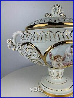 Vintage Keramos Capodimonte Tureen Soup Italy Angels Porcelain Pedestal Bowl Lid