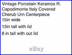 Vintage Keramos R. Capodimonte Pedestal Bowl & Lid Cherub Italy Soup Tureen